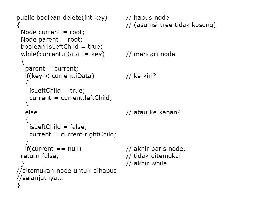 public boolean delete(int key) // hapus node