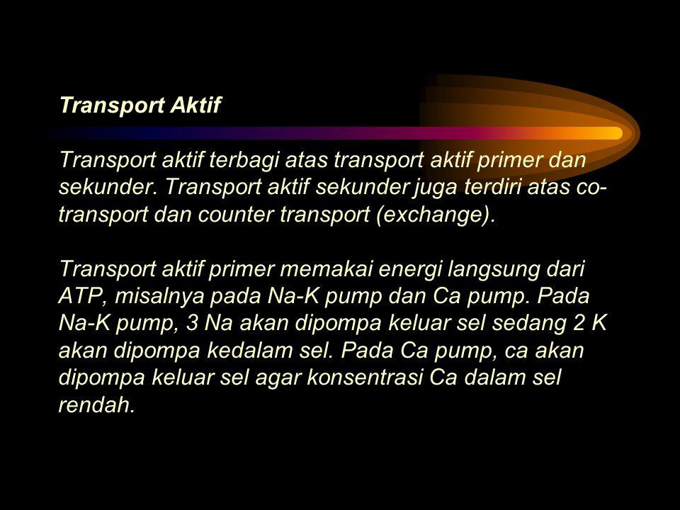 Transport Aktif Transport aktif terbagi atas transport aktif primer dan sekunder.