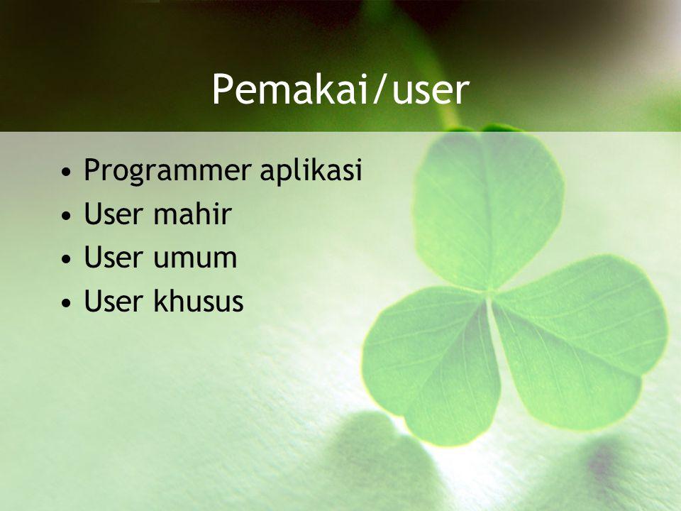 Pemakai/user Programmer aplikasi User mahir User umum User khusus