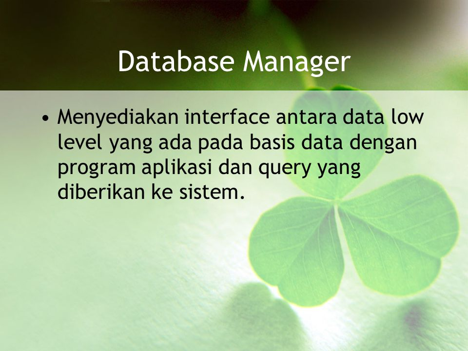 Database Manager Menyediakan interface antara data low level yang ada pada basis data dengan program aplikasi dan query yang diberikan ke sistem.