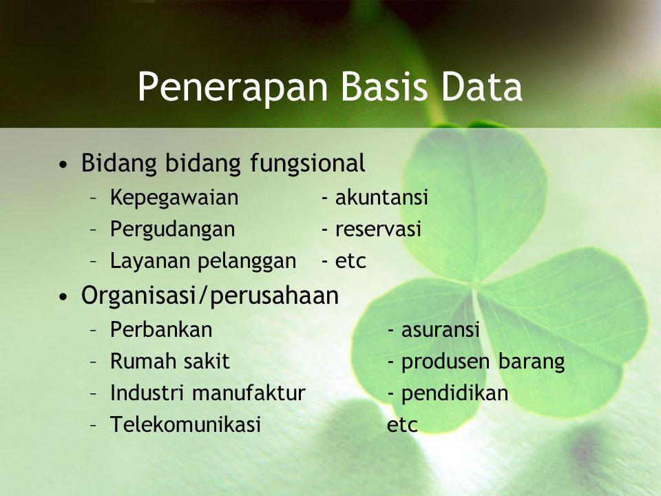 Penerapan Basis Data Bidang bidang fungsional Organisasi/perusahaan