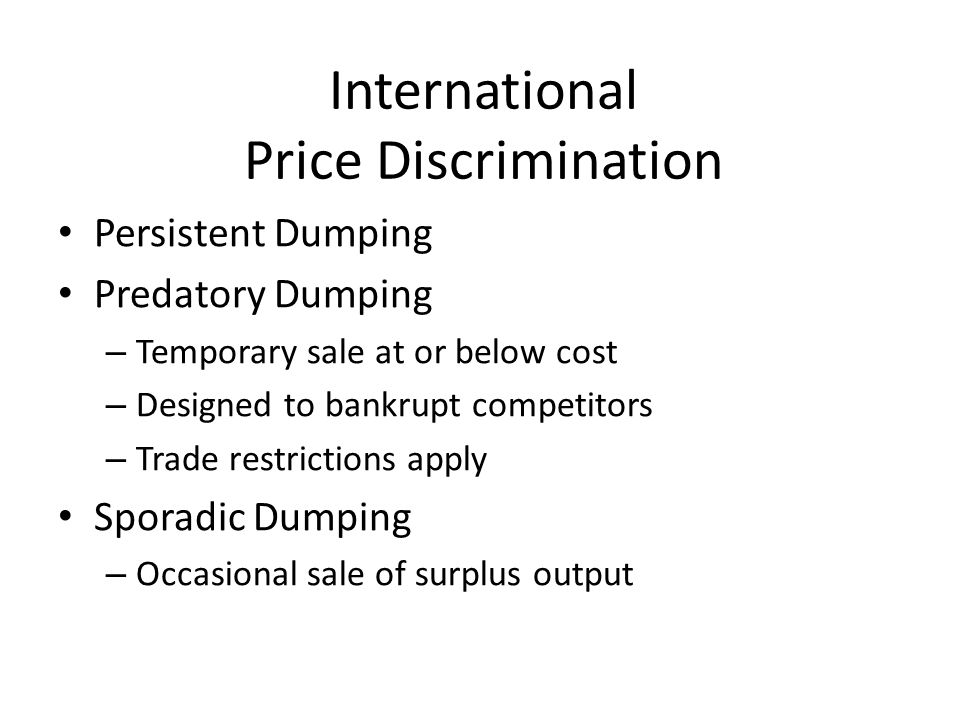 International Price Discrimination