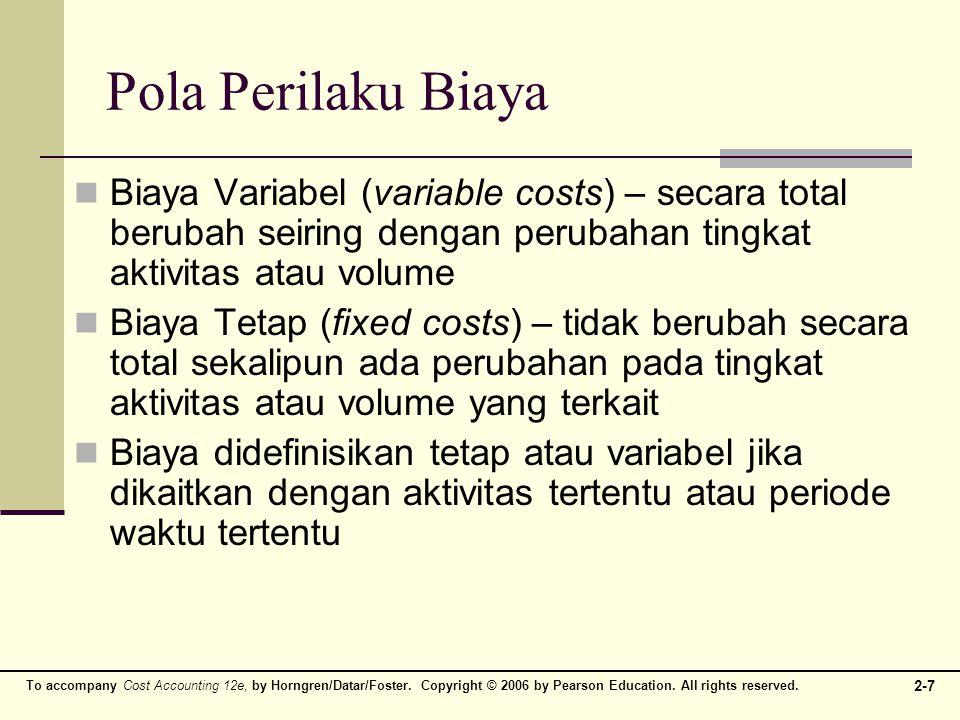 Pola Perilaku Biaya Biaya Variabel (variable costs) – secara total berubah seiring dengan perubahan tingkat aktivitas atau volume.