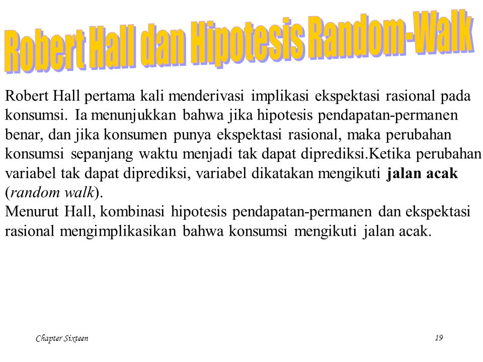 Robert Hall dan Hipotesis Random-Walk