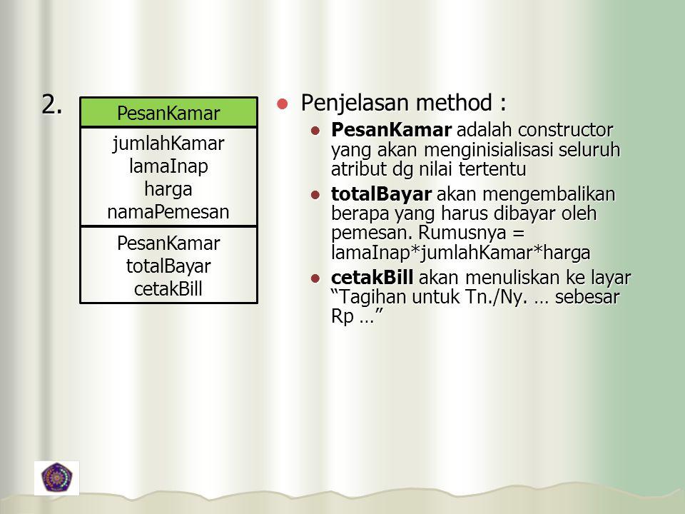 2. Penjelasan method : PesanKamar