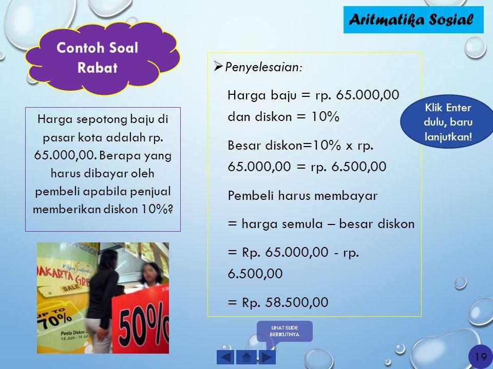 Aritmatika Sosial Contoh Soal Rabat Penyelesaian: