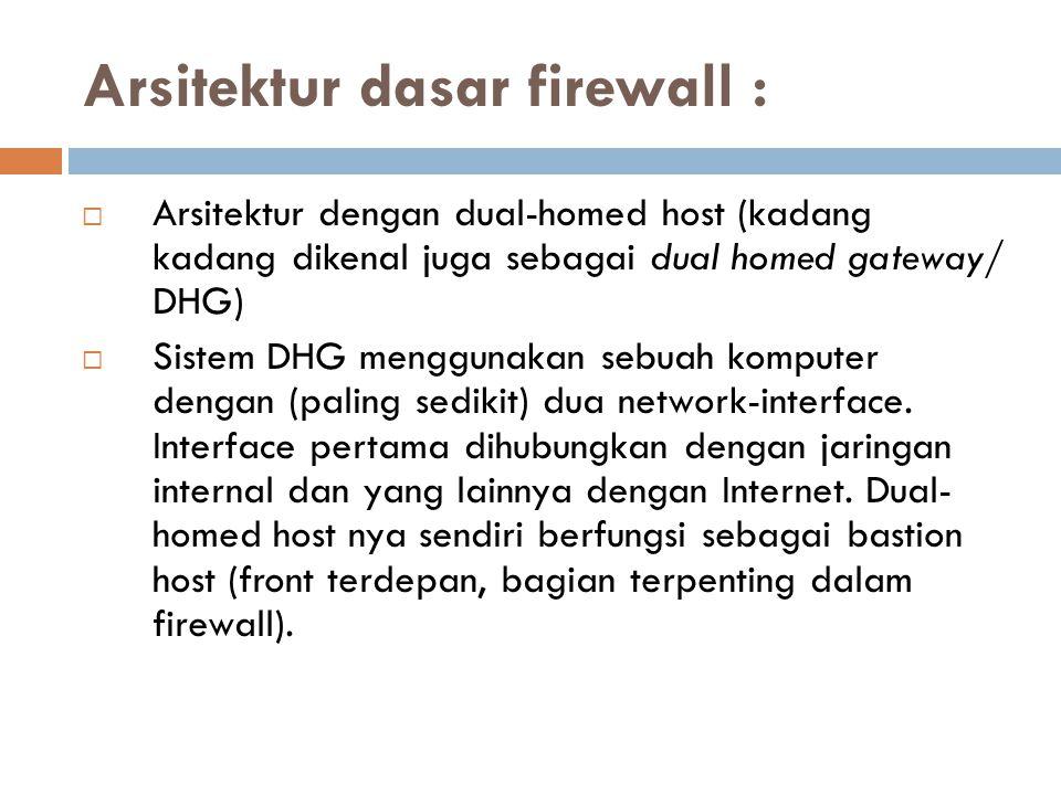 Arsitektur dasar firewall :