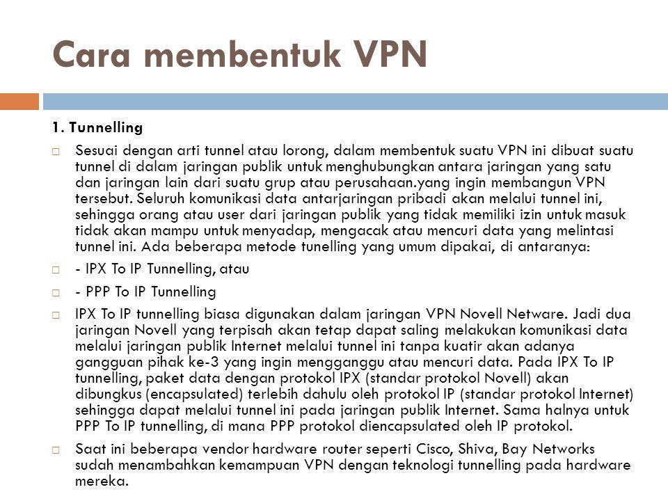 Cara membentuk VPN 1. Tunnelling