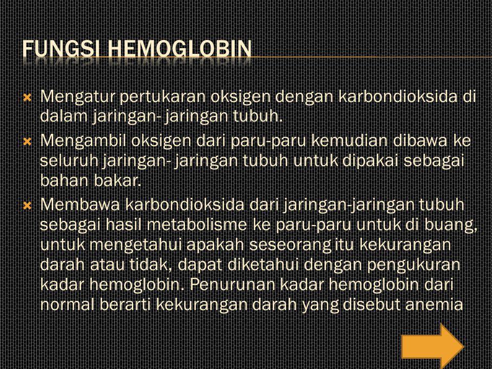 Fungsi hemoglobin Mengatur pertukaran oksigen dengan karbondioksida di dalam jaringan- jaringan tubuh.