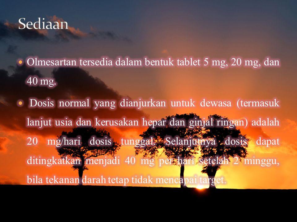 Sediaan Olmesartan tersedia dalam bentuk tablet 5 mg, 20 mg, dan 40 mg.