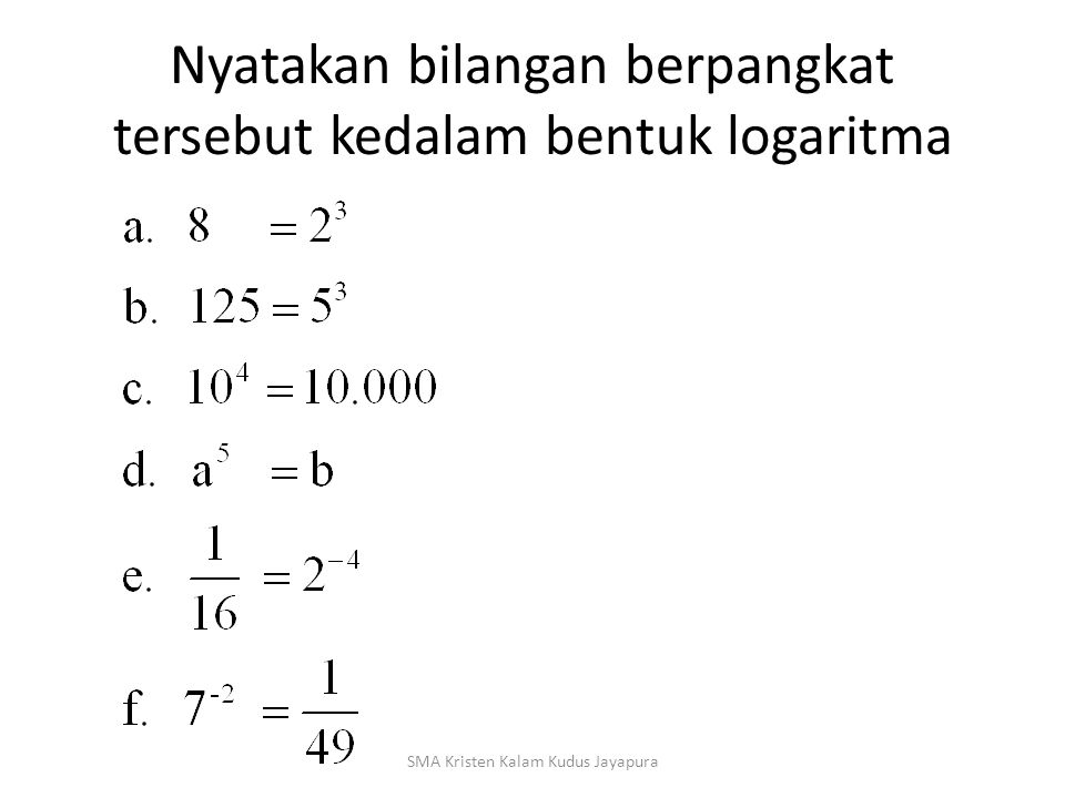Nyatakan bilangan berpangkat tersebut kedalam bentuk logaritma