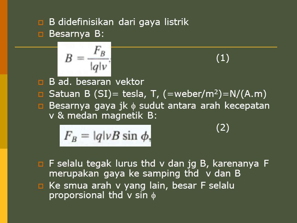 B didefinisikan dari gaya listrik