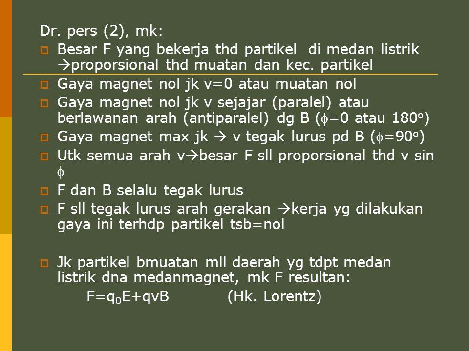Dr. pers (2), mk: Besar F yang bekerja thd partikel di medan listrik proporsional thd muatan dan kec. partikel.