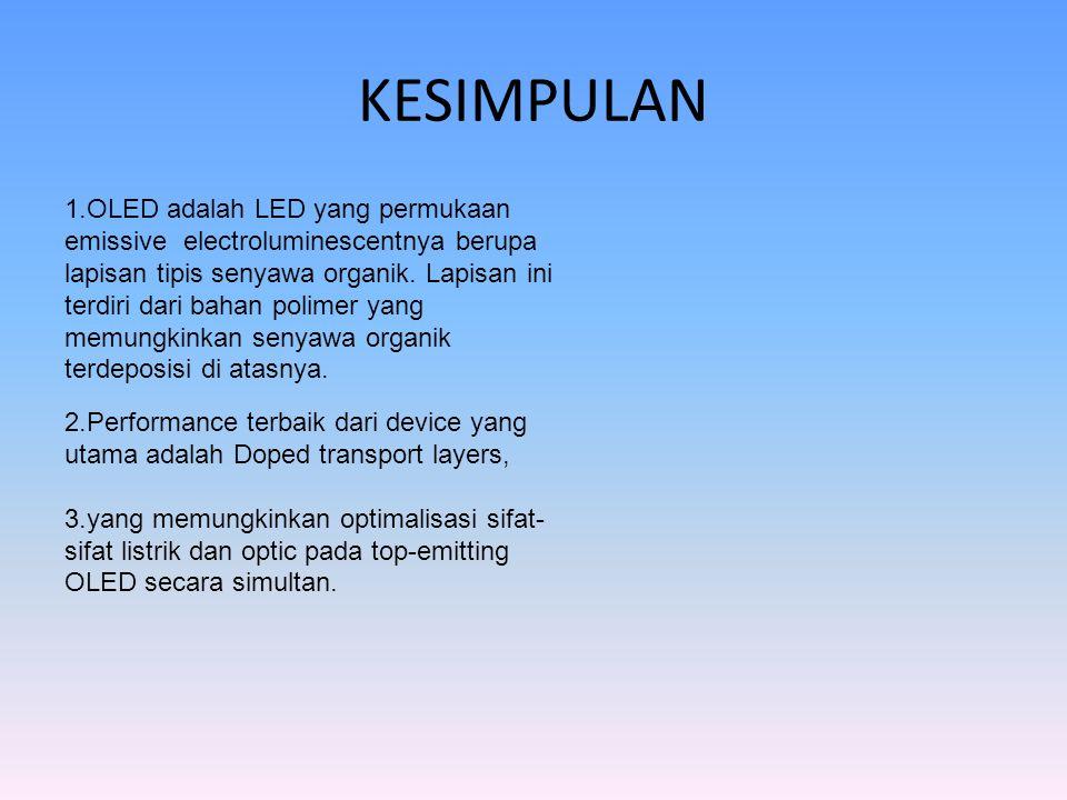 KESIMPULAN 1.OLED adalah LED yang permukaan emissive electroluminescentnya berupa lapisan tipis senyawa organik. Lapisan ini.