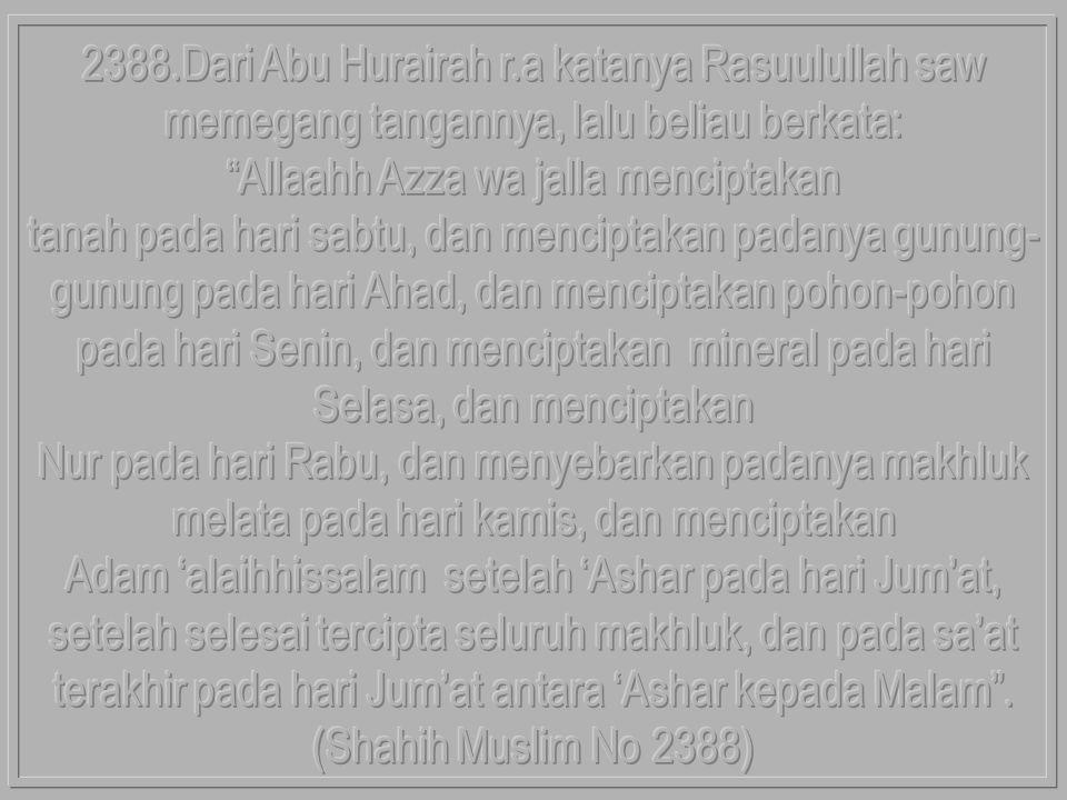Allaahh Azza wa jalla menciptakan