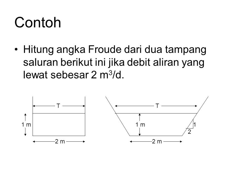 Contoh Hitung angka Froude dari dua tampang saluran berikut ini jika debit aliran yang lewat sebesar 2 m3/d.