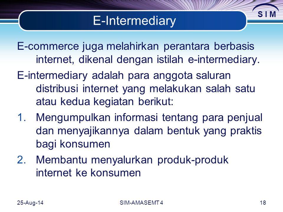 E-Intermediary E-commerce juga melahirkan perantara berbasis internet, dikenal dengan istilah e-intermediary.