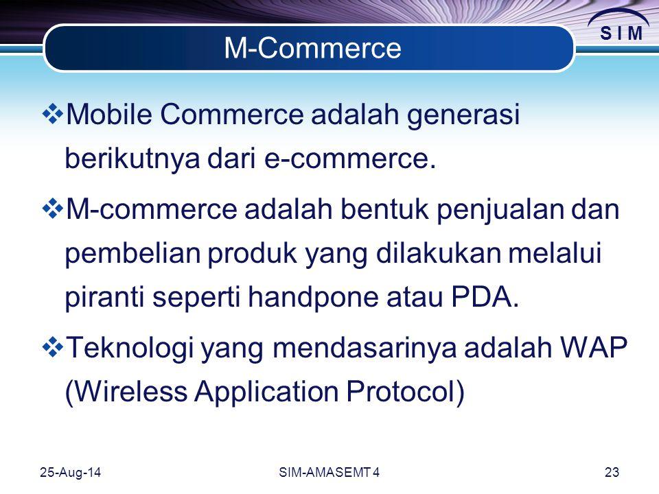 Mobile Commerce adalah generasi berikutnya dari e-commerce.