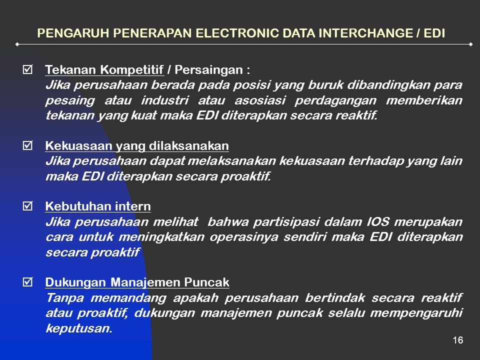 PENGARUH PENERAPAN ELECTRONIC DATA INTERCHANGE / EDI