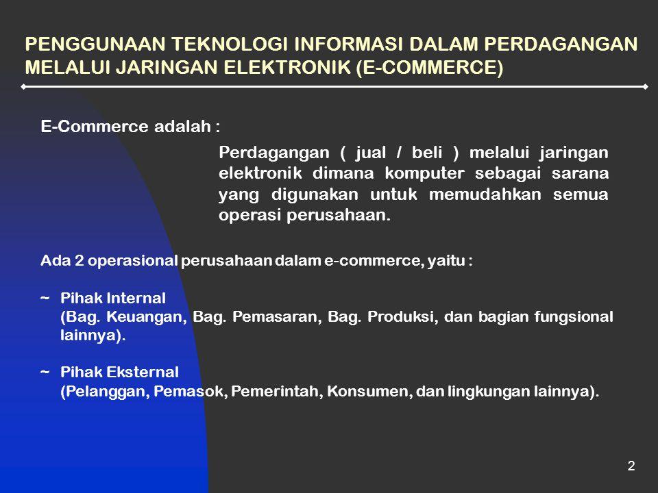 PENGGUNAAN TEKNOLOGI INFORMASI DALAM PERDAGANGAN MELALUI JARINGAN ELEKTRONIK (E-COMMERCE)