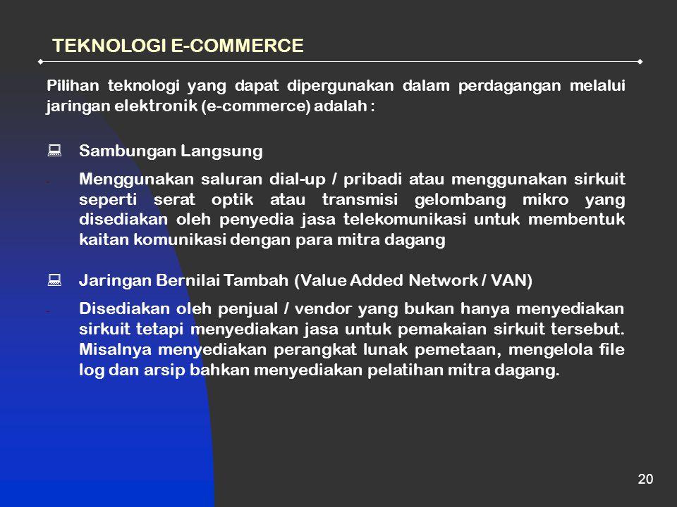TEKNOLOGI E-COMMERCE Sambungan Langsung