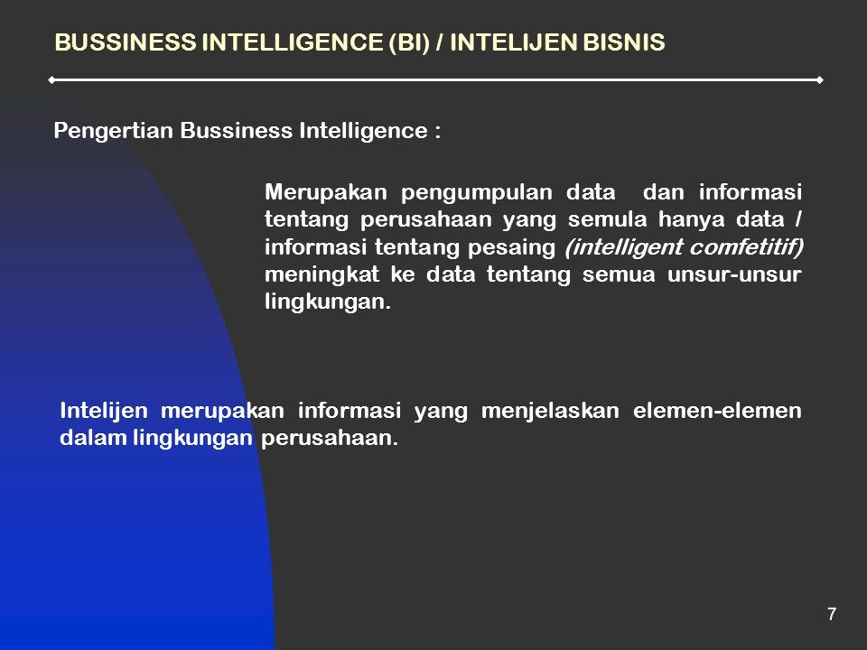BUSSINESS INTELLIGENCE (BI) / INTELIJEN BISNIS