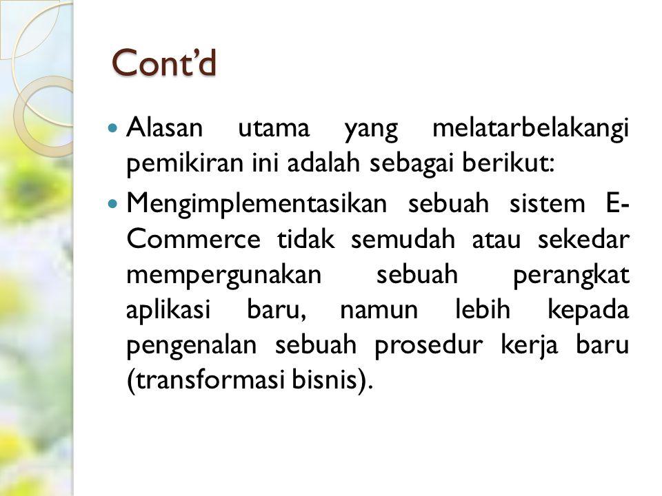 Cont'd Alasan utama yang melatarbelakangi pemikiran ini adalah sebagai berikut: