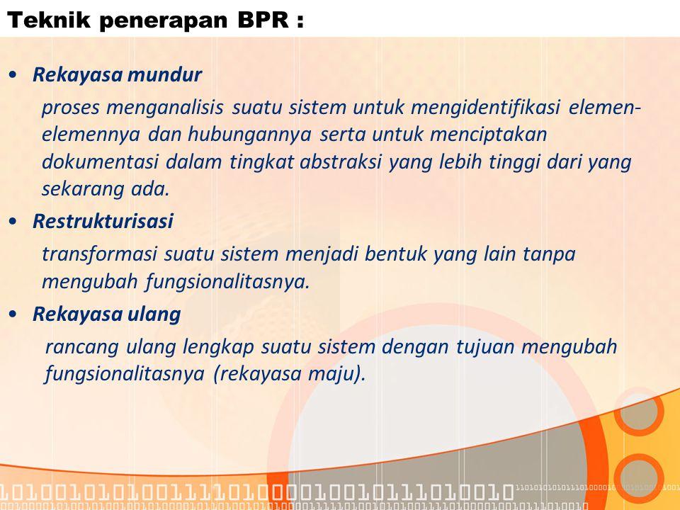 Teknik penerapan BPR : Rekayasa mundur.