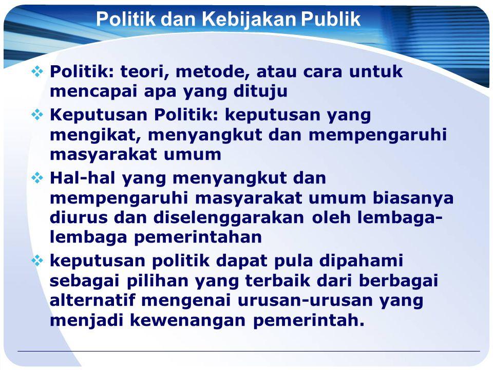 Politik dan Kebijakan Publik