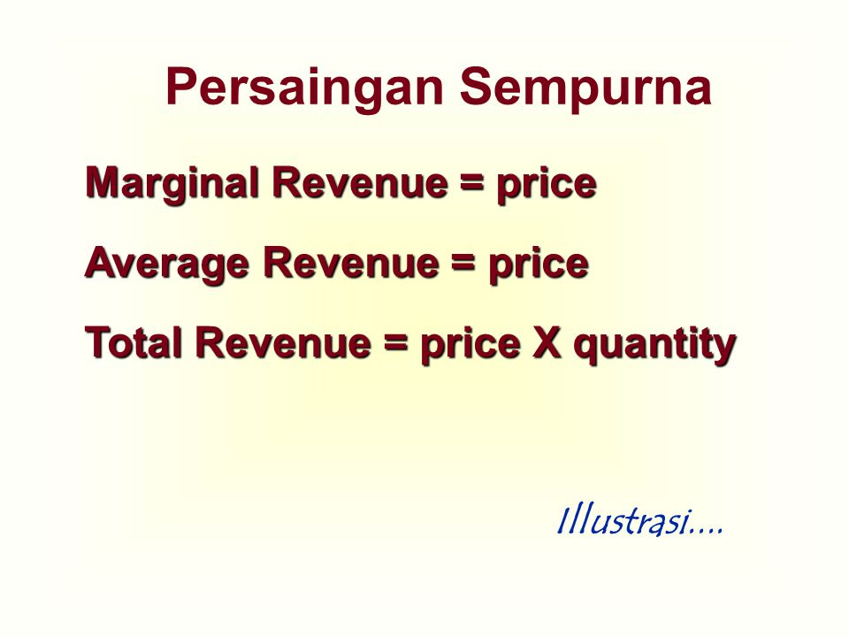 Persaingan Sempurna Marginal Revenue = price Average Revenue = price