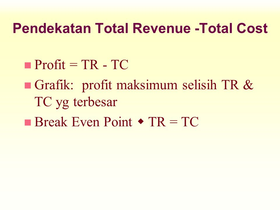 Pendekatan Total Revenue -Total Cost