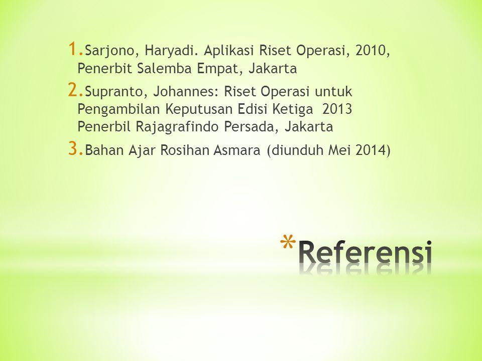 Sarjono, Haryadi. Aplikasi Riset Operasi, 2010, Penerbit Salemba Empat, Jakarta