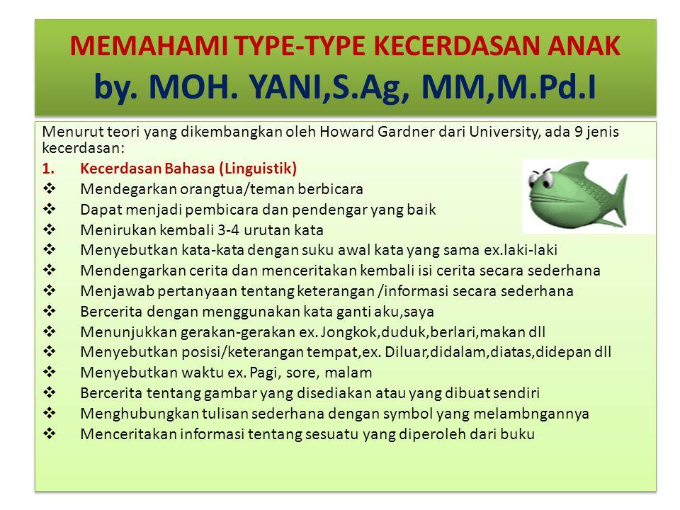 MEMAHAMI TYPE-TYPE KECERDASAN ANAK by. MOH. YANI,S.Ag, MM,M.Pd.I