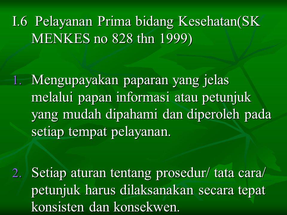 I.6 Pelayanan Prima bidang Kesehatan(SK MENKES no 828 thn 1999)