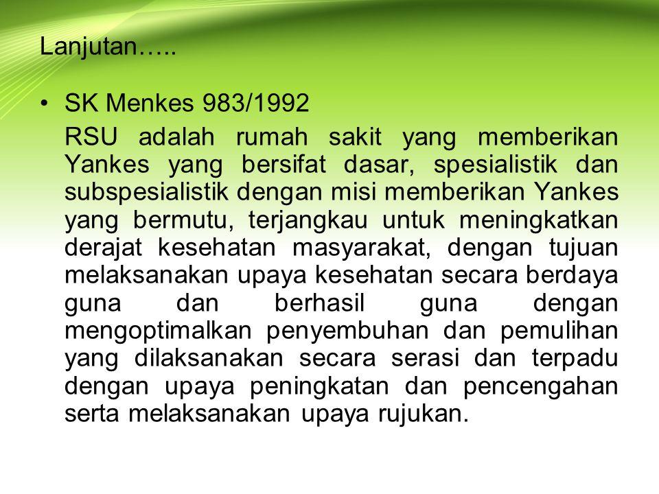 Lanjutan….. SK Menkes 983/1992.