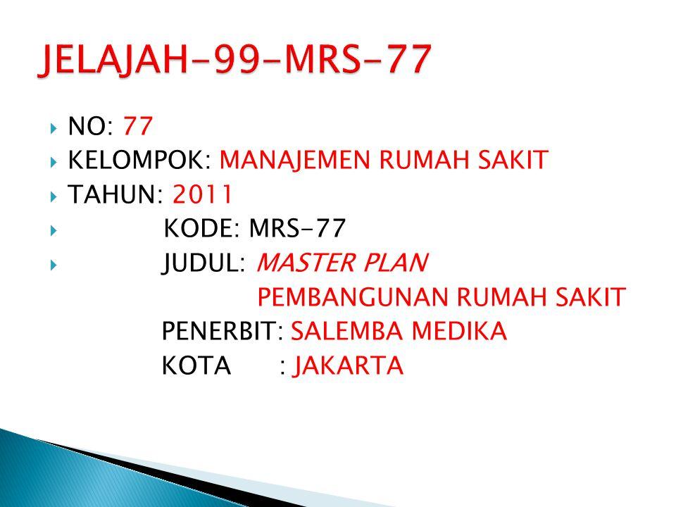 JELAJAH-99-MRS-77 NO: 77 KELOMPOK: MANAJEMEN RUMAH SAKIT TAHUN: 2011
