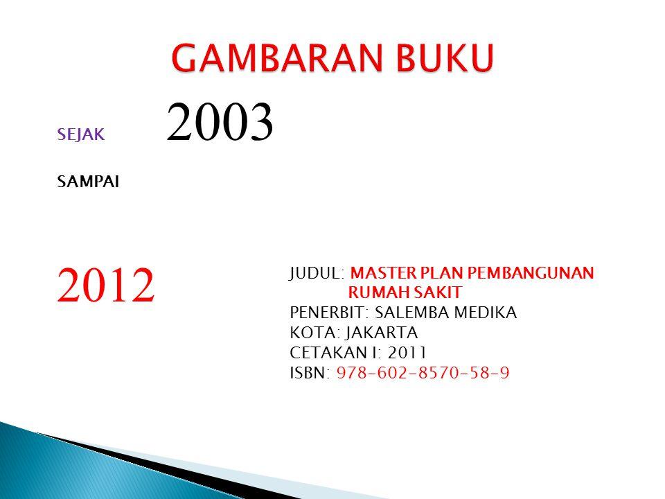 2012 GAMBARAN BUKU SEJAK 2003 SAMPAI JUDUL: MASTER PLAN PEMBANGUNAN