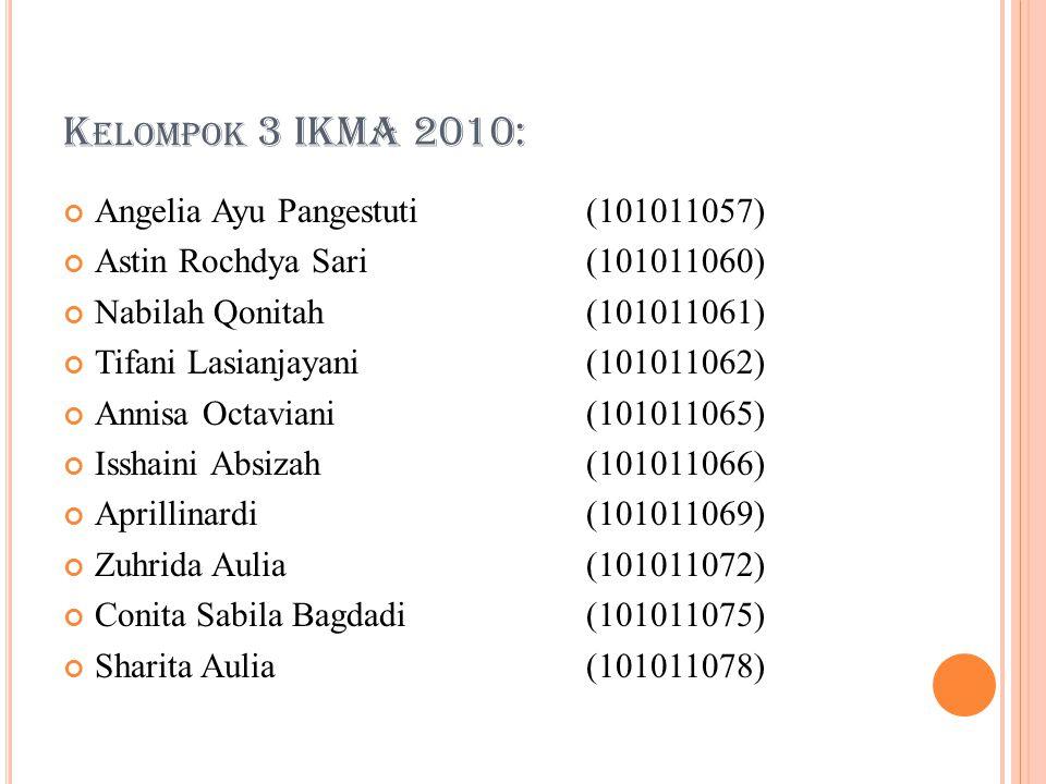 Kelompok 3 IKMA 2010: Angelia Ayu Pangestuti (101011057)