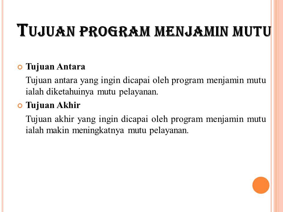 Tujuan program menjamin mutu