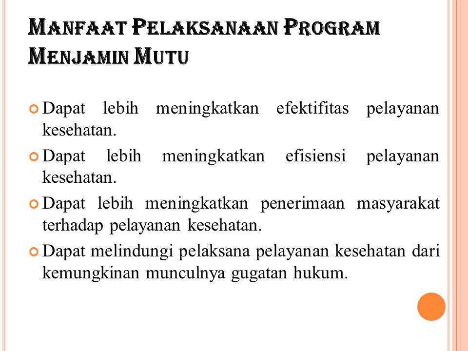 Manfaat Pelaksanaan Program Menjamin Mutu