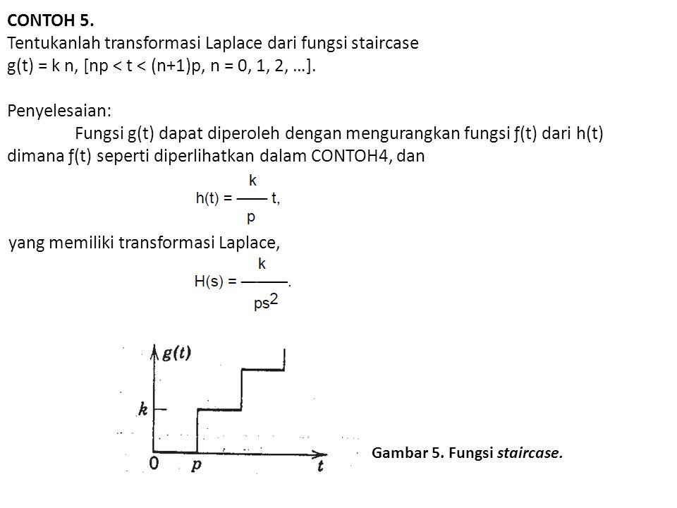 Tentukanlah transformasi Laplace dari fungsi staircase