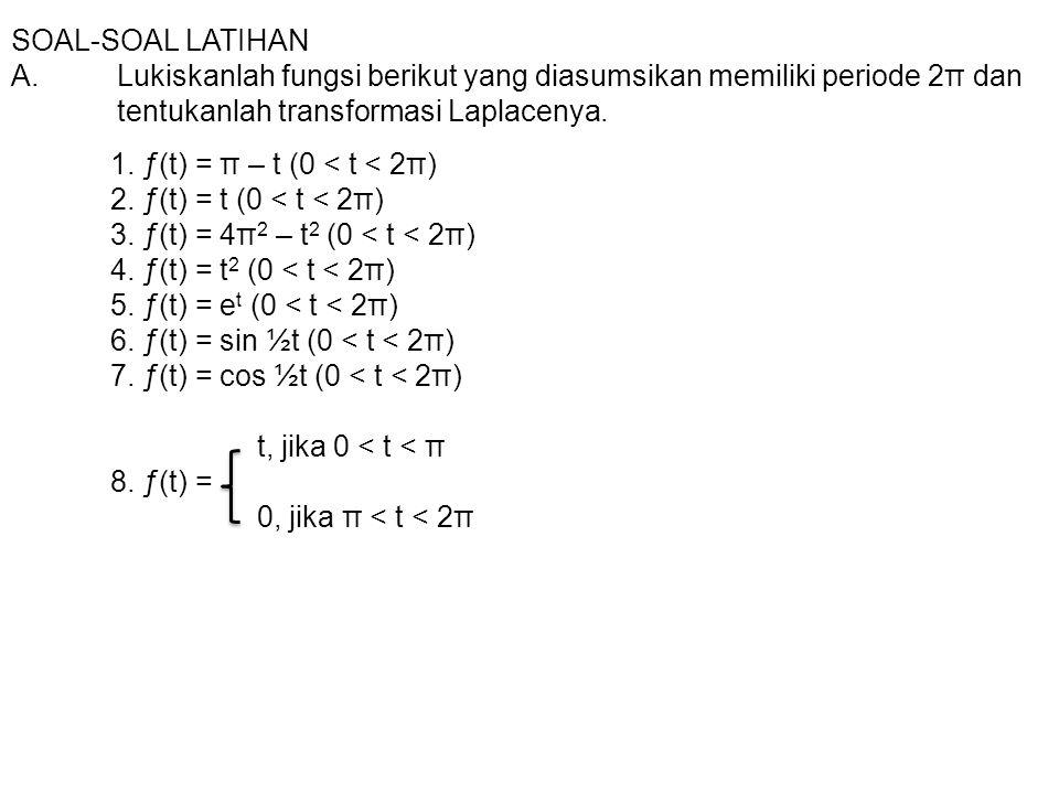 SOAL-SOAL LATIHAN A. Lukiskanlah fungsi berikut yang diasumsikan memiliki periode 2π dan tentukanlah transformasi Laplacenya.