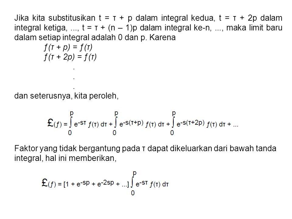 Jika kita substitusikan t = τ + p dalam integral kedua, t = τ + 2p dalam integral ketiga, ..., t = τ + (n – 1)p dalam integral ke-n, ..., maka limit baru dalam setiap integral adalah 0 dan p. Karena