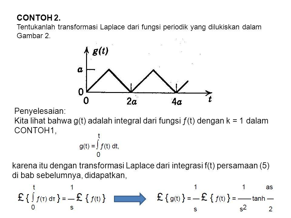 CONTOH 2. Tentukanlah transformasi Laplace dari fungsi periodik yang dilukiskan dalam Gambar 2. Penyelesaian: