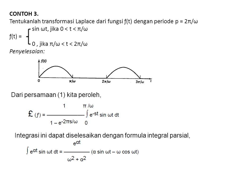 CONTOH 3. Tentukanlah transformasi Laplace dari fungsi ƒ(t) dengan periode p = 2π/ω. sin ωt, jika 0 < t < π/ω.