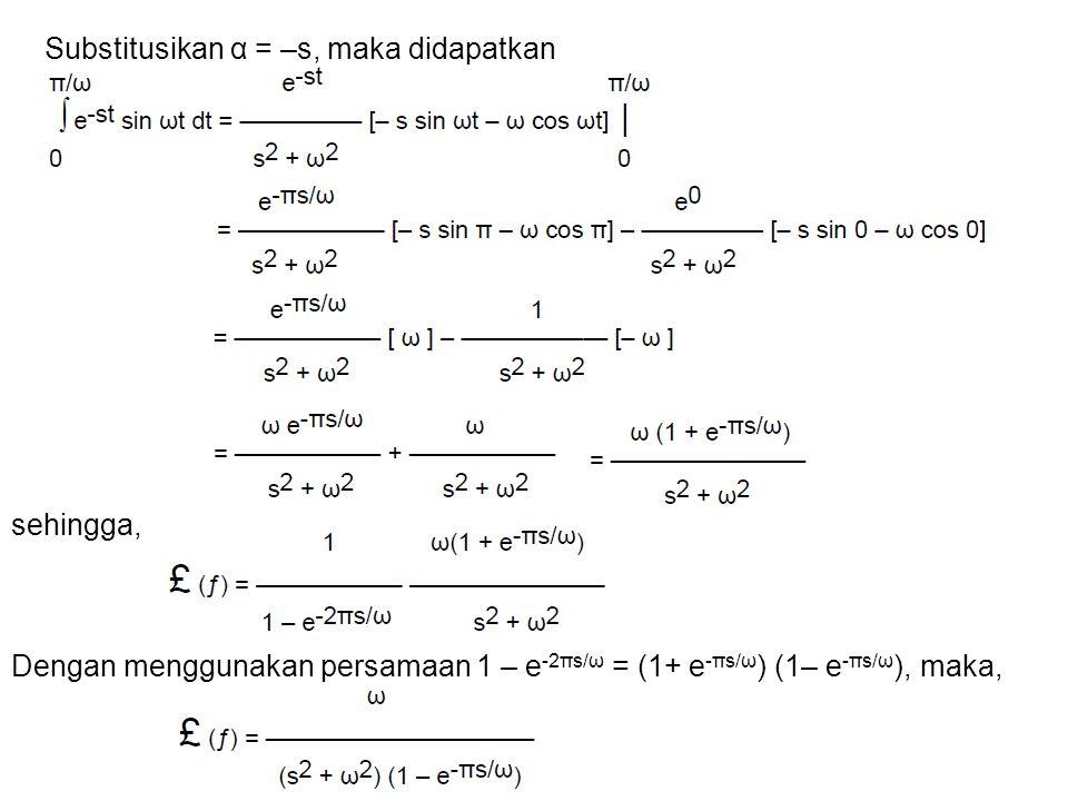 Substitusikan α = –s, maka didapatkan