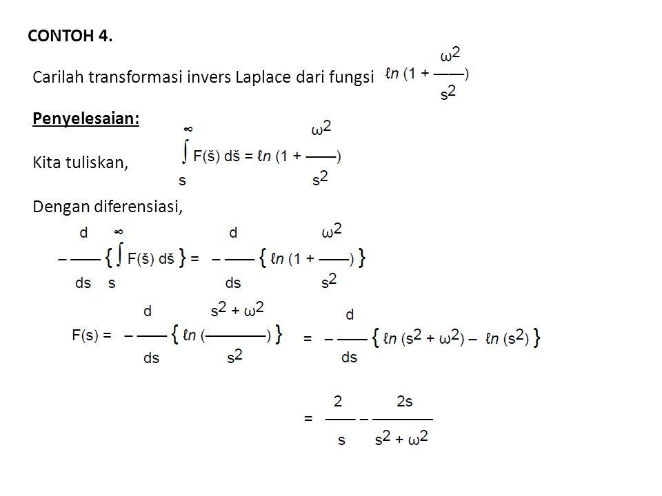 CONTOH 4. Carilah transformasi invers Laplace dari fungsi.