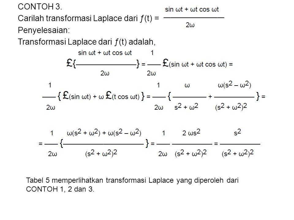 CONTOH 3. Carilah transformasi Laplace dari ƒ(t) = Penyelesaian: Transformasi Laplace dari ƒ(t) adalah,