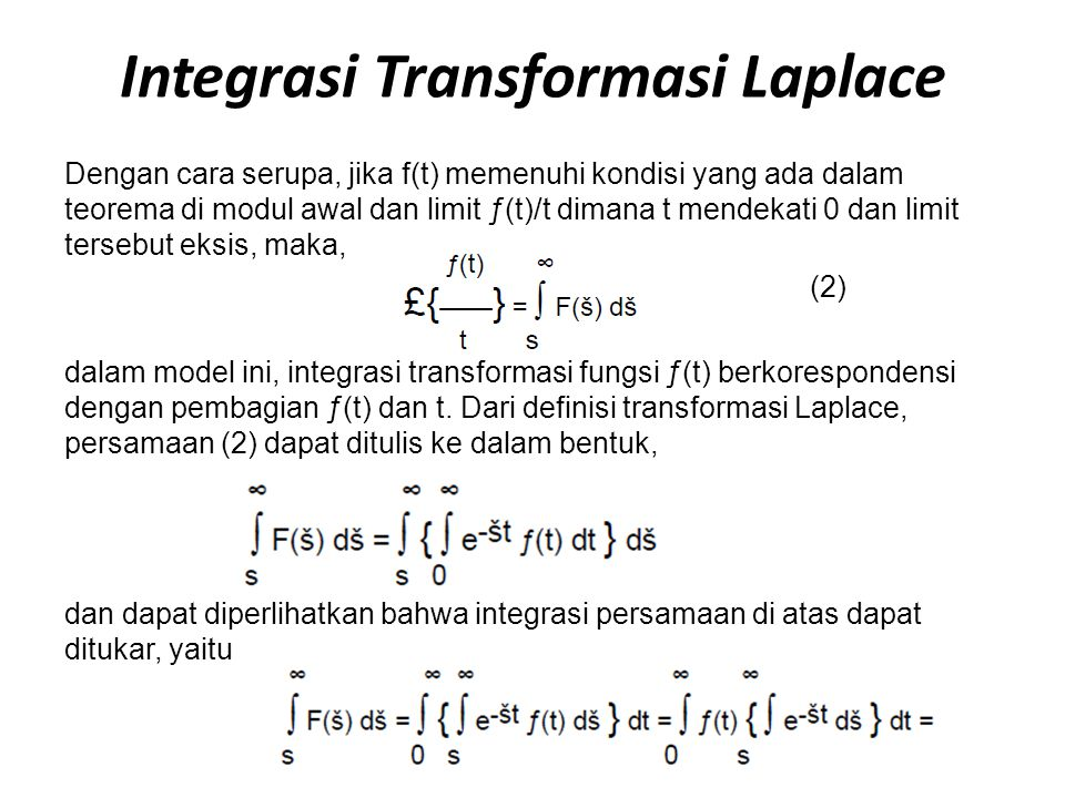 Integrasi Transformasi Laplace