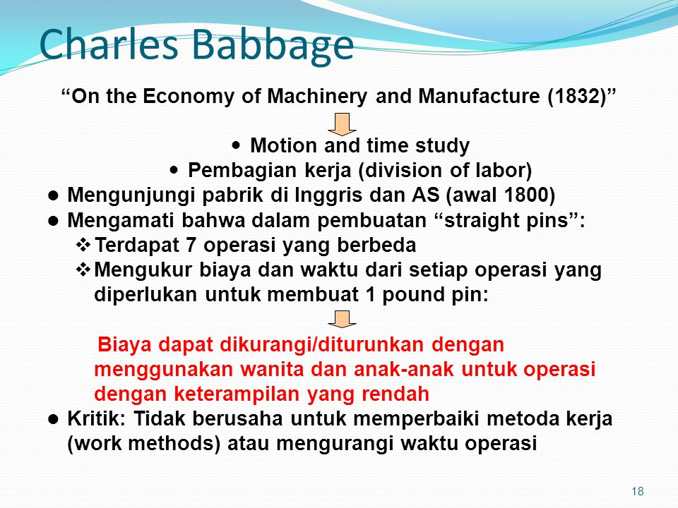 Charles Babbage On the Economy of Machinery and Manufacture (1832)